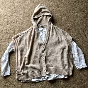 Button Up, Hooded Tan Poncho